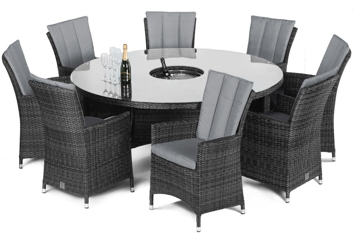 Maze Rattan LA 8 Seat Round Dining Set - Grey   The ...