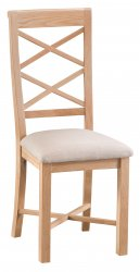 Light Warwick Dining & Occasional Double Cross Back Chair with Fabric Seat