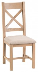 Light Oakmont Dining & Occasional Cross Back Chair with Fabric Seat
