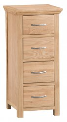 Light Warwick Bedroom 4 Drawer Narrow Chest