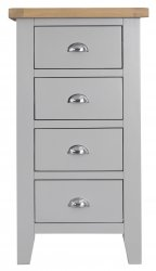 Kettering Grey Bedroom 4 Drawer Narrow Chest