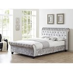 Celine King Bed Frame - Silver