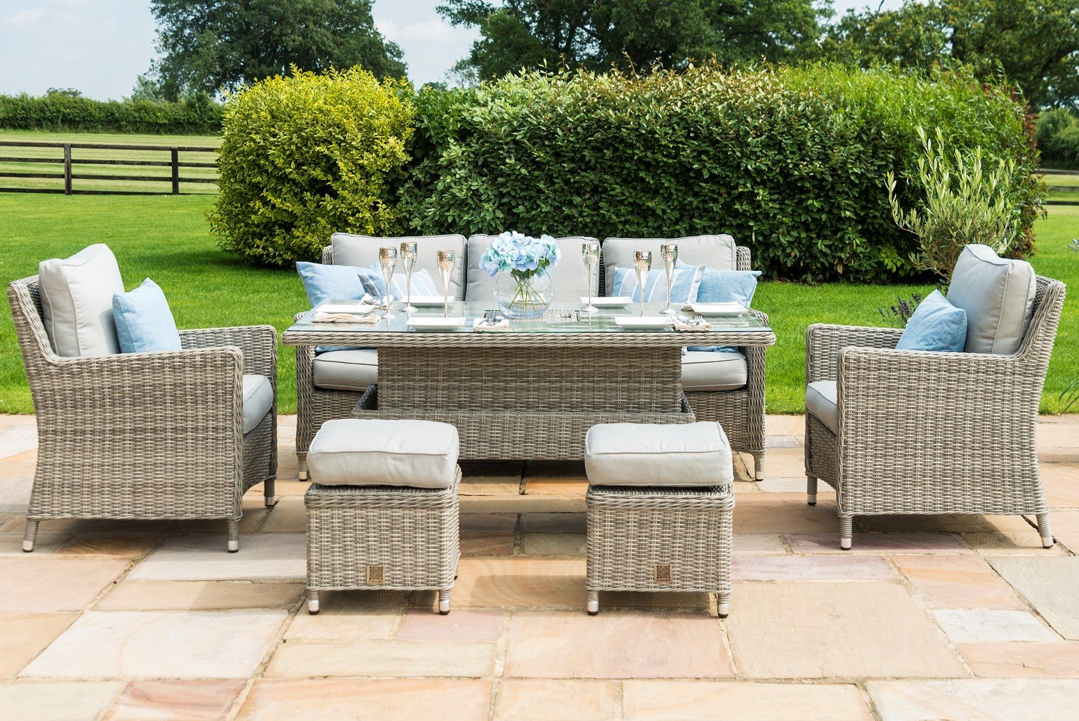 Picture of: Maze Rattan Oxford Sofa Dining Set With Dual Position Table The Clearance Zone