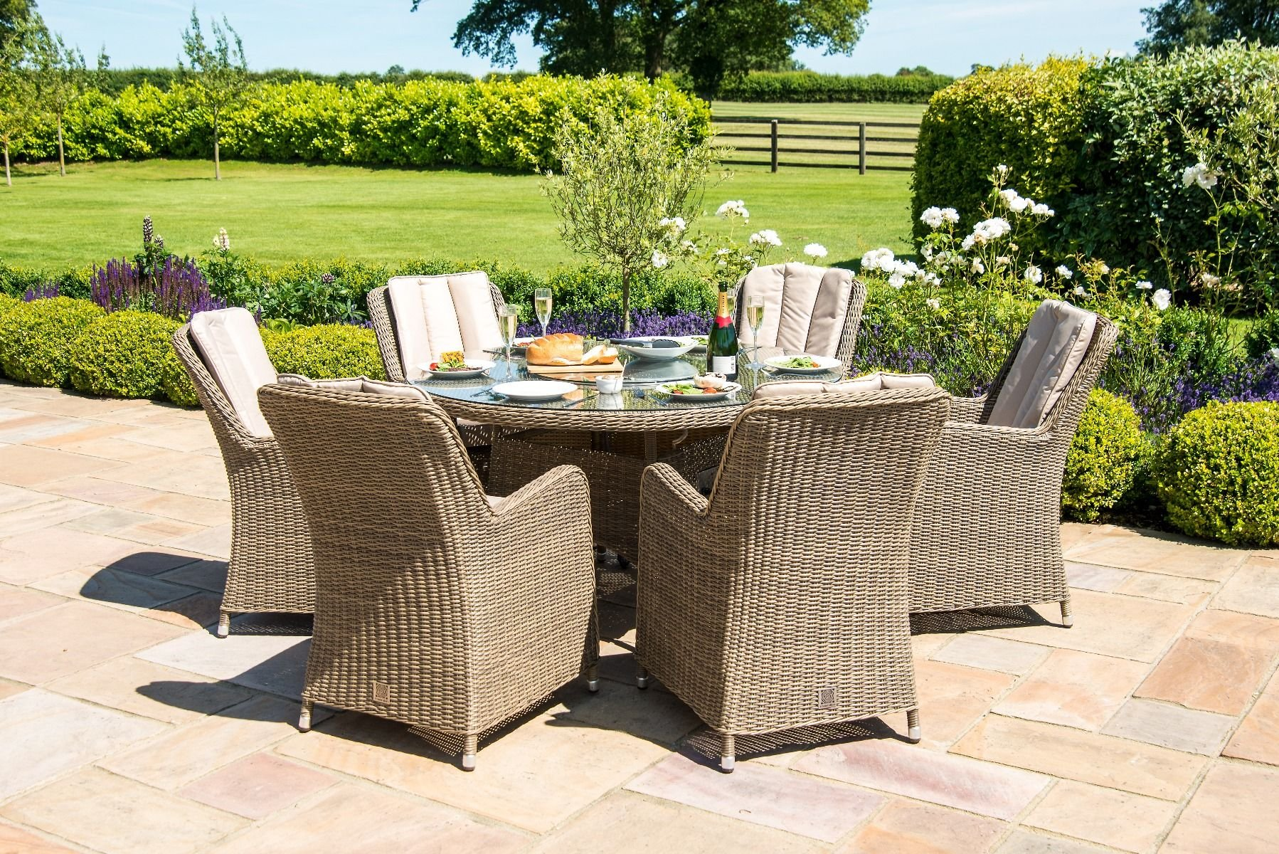 Maze Rattan Winchester 6 Seat Round Fire Pit Dining Set ...
