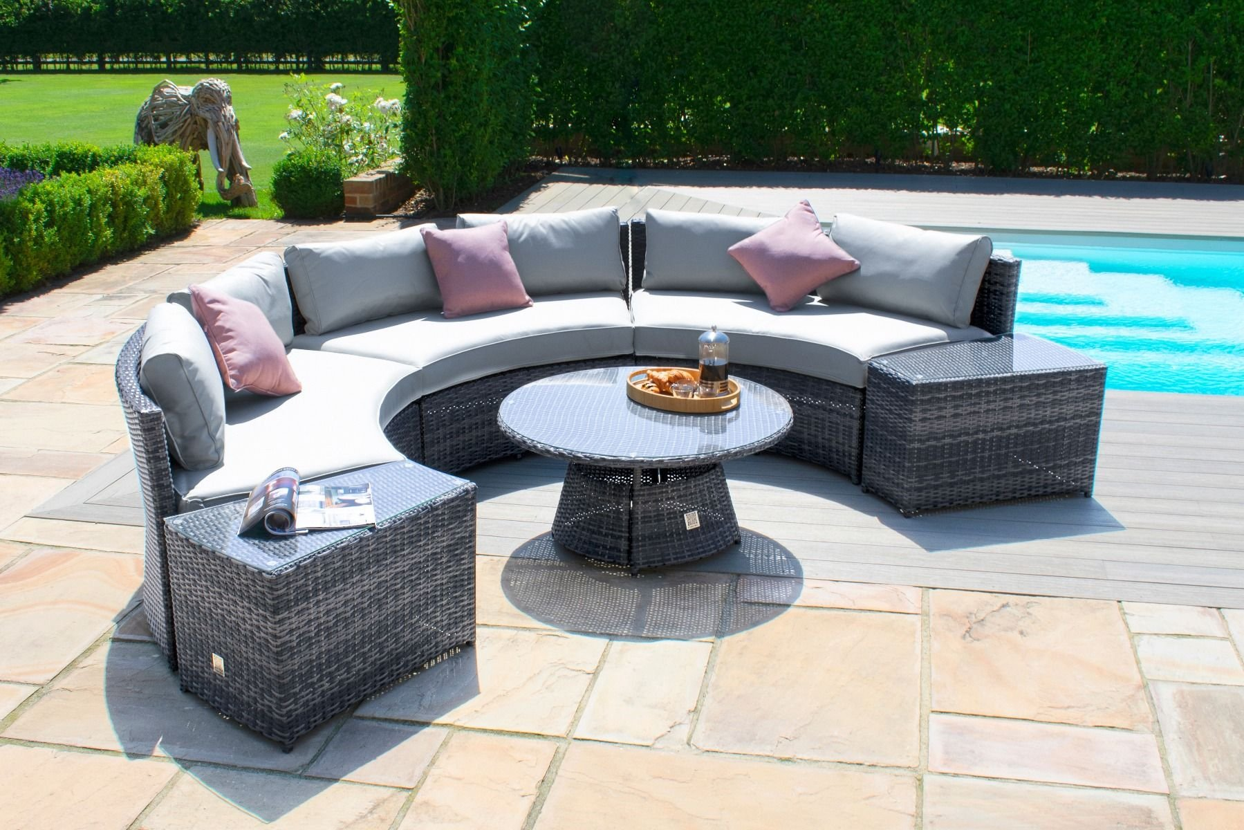 Maze Rattan Half Moon Sofa Set - Grey