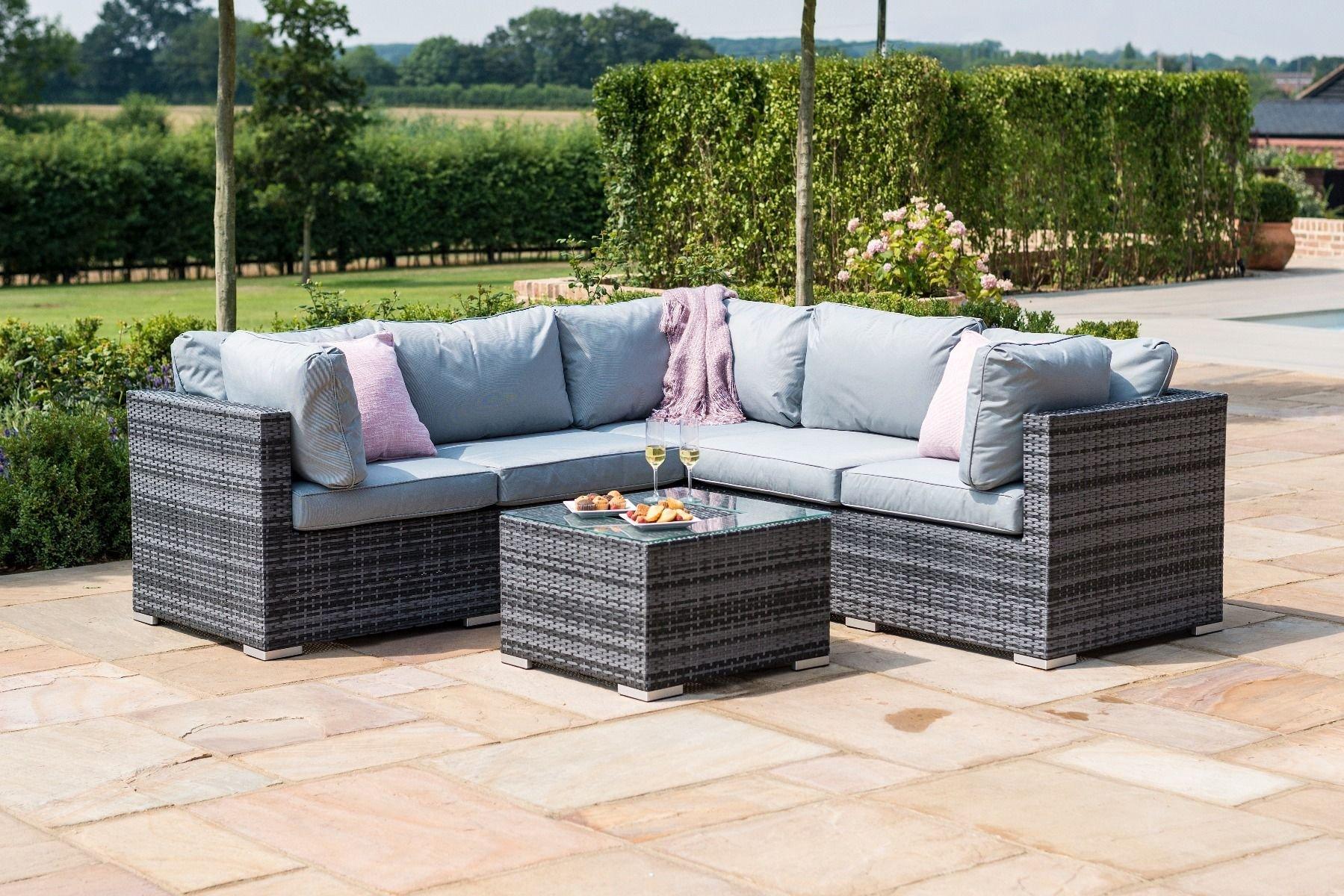 Maze Rattan Porto Corner Sofa Set Grey The Clearance Zone