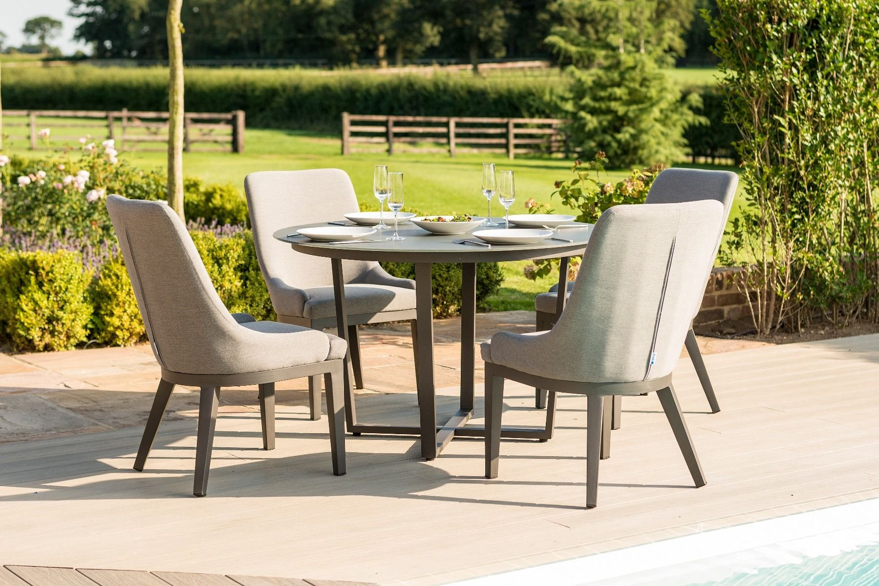 Pacific 8 Seat Round Dining Set - Taupe