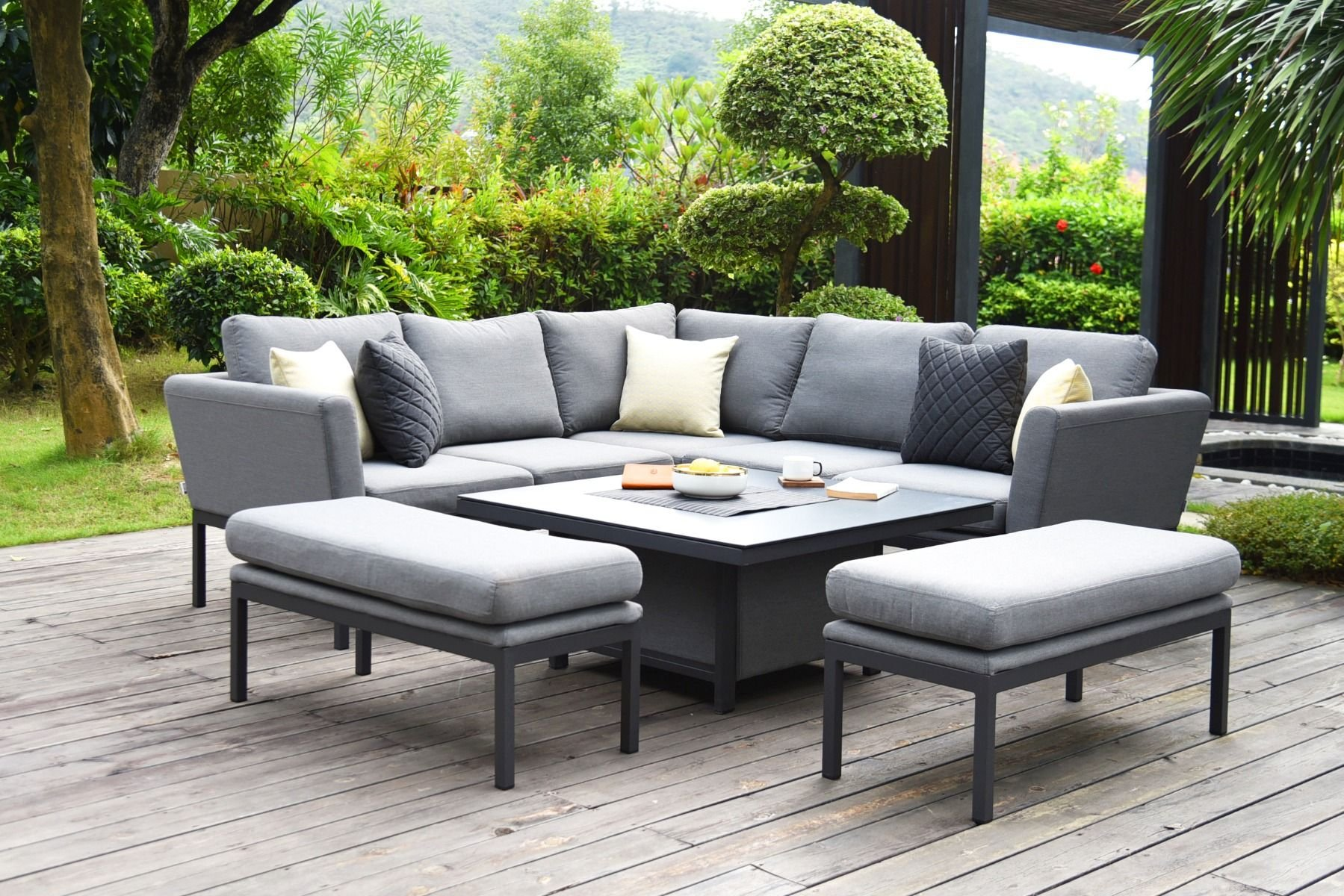 Image of: Pulse Square Corner Dining Set With Fire Pit Flanelle The Clearance Zone