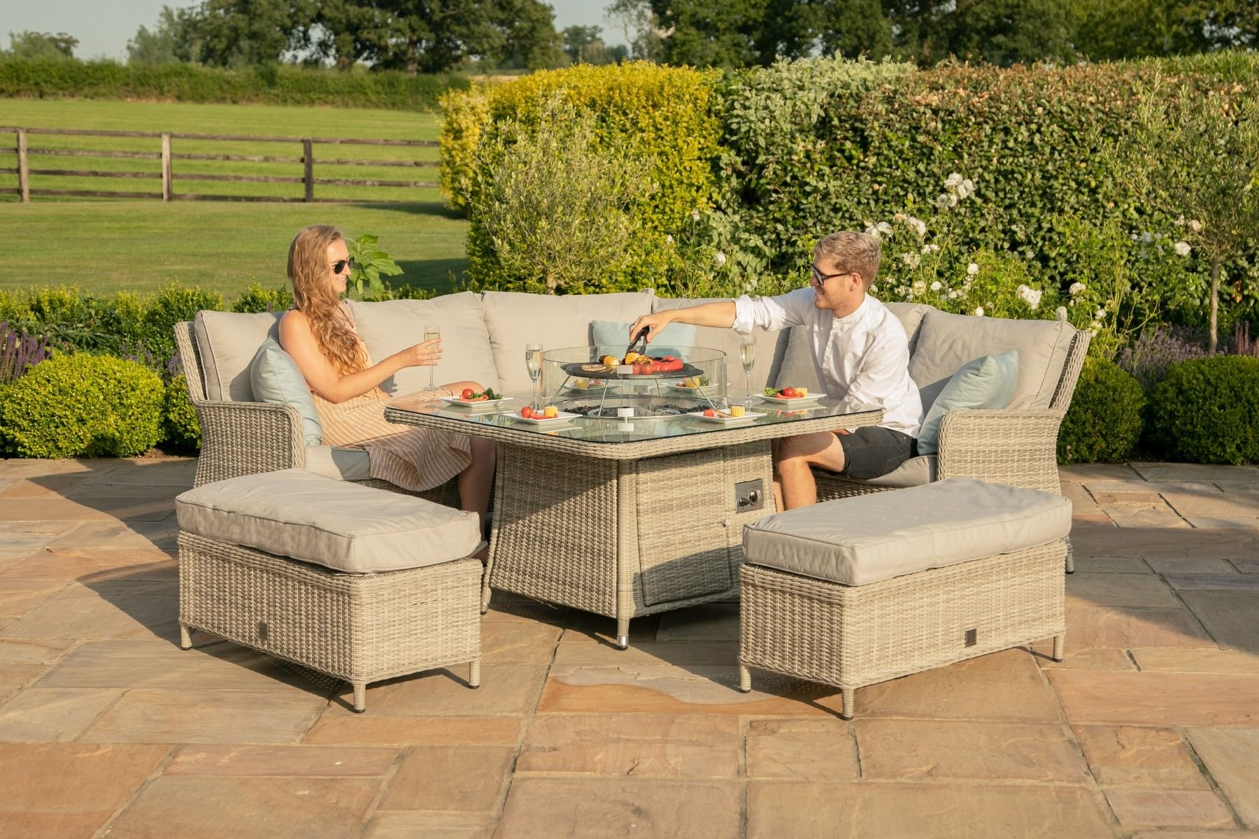Maze Rattan Oxford Royal Corner Dining Set with Fire Pit ...