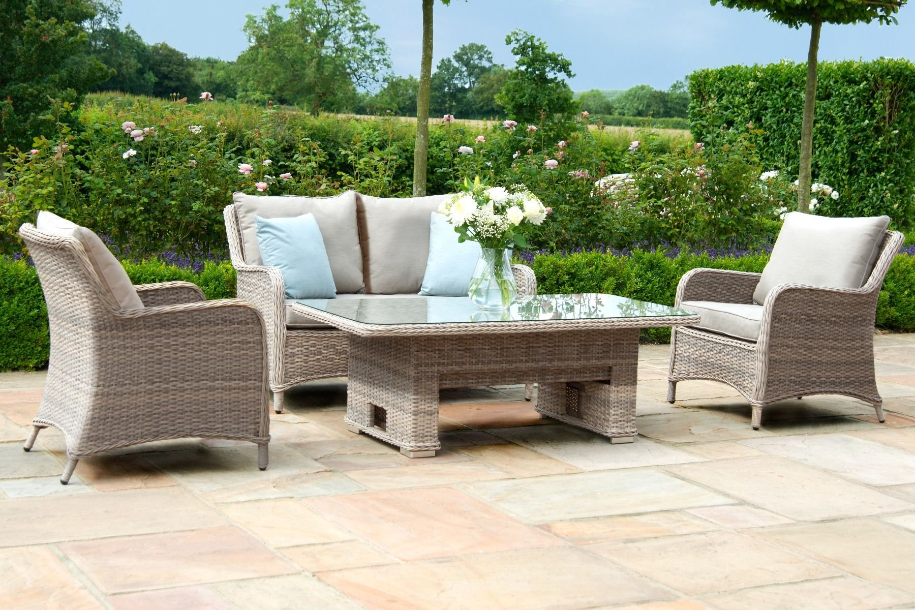 Picture of: Maze Rattan Cotswold 2 Seat Sofa Dining With Rising Table The Clearance Zone
