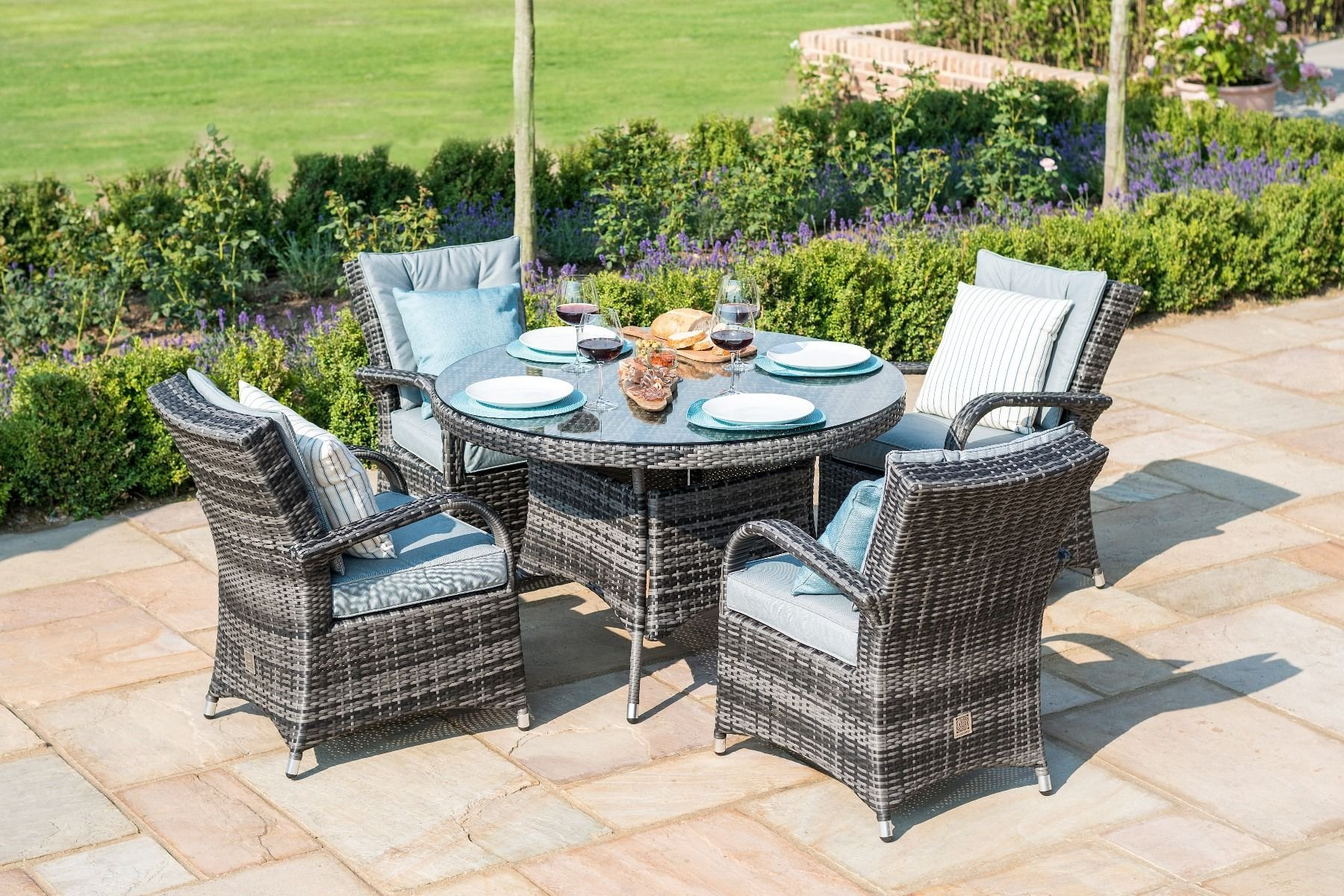 Maze Rattan Texas 4 Seat Round Dining Set Grey The Clearance Zone