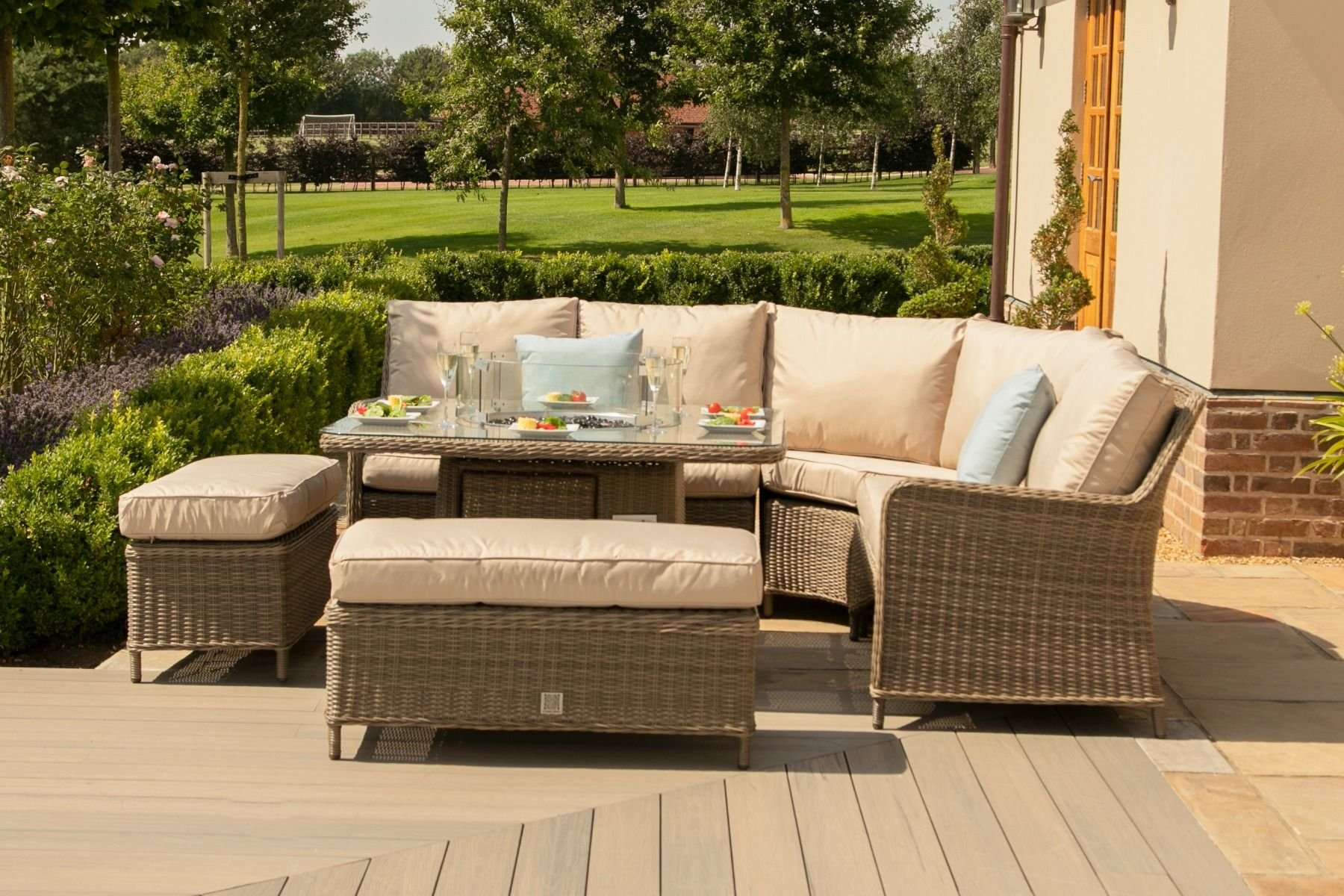 Maze Rattan Winchester Royal Corner Dining Set With Fire ...
