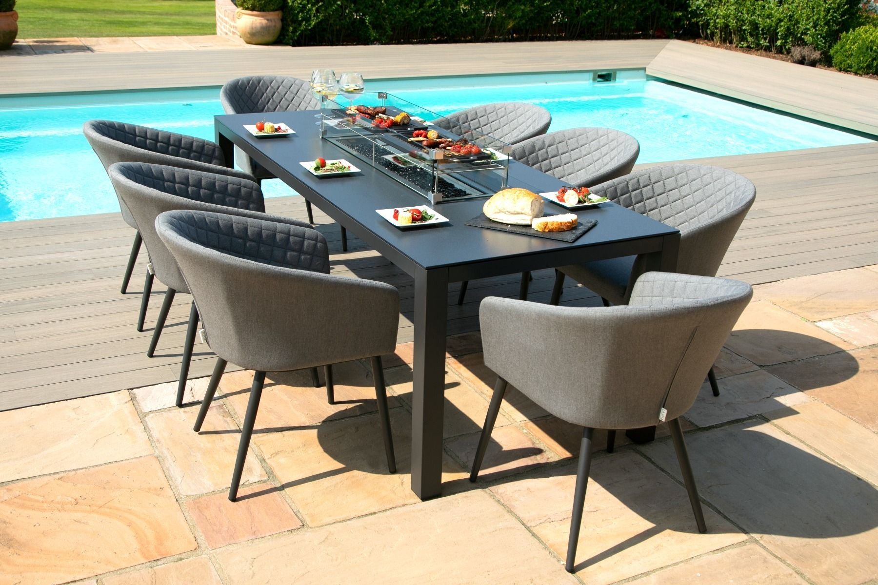Image of: Ambition 8 Seat Rectangle Dining Set With Fire Pit Flanelle The Clearance Zone