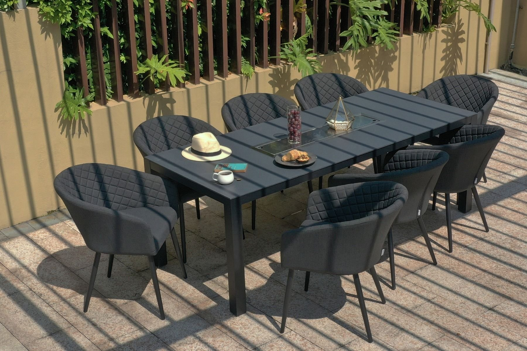 Image of: Ambition 8 Seat Rectangle Dining Set With Fire Pit Charcoal The Clearance Zone
