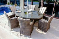 Maze Rattan 6 Seater LA Oval Dining Set With Ice Bucket