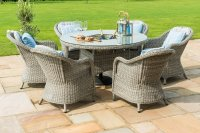 Maze Rattan - Oxford 6 Seat Round Dining Set With Round Chairs