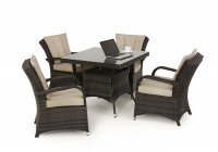 Maze Rattan Texas Square 4 Seater Dining Set