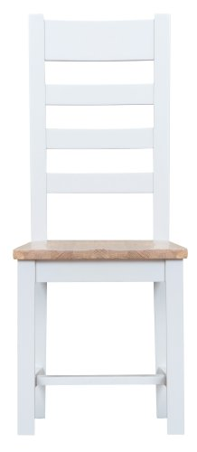 Kettering White Dining & Occasional Ladder Back Chair with Wooden Seat