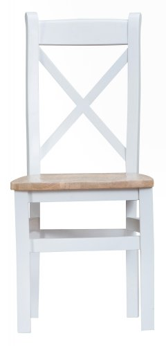Kettering White Dining & Occasional Cross Back Chair with Wooden Seat
