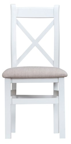 Kettering White Dining & Occasional Cross Back Chair with Fabric Seat