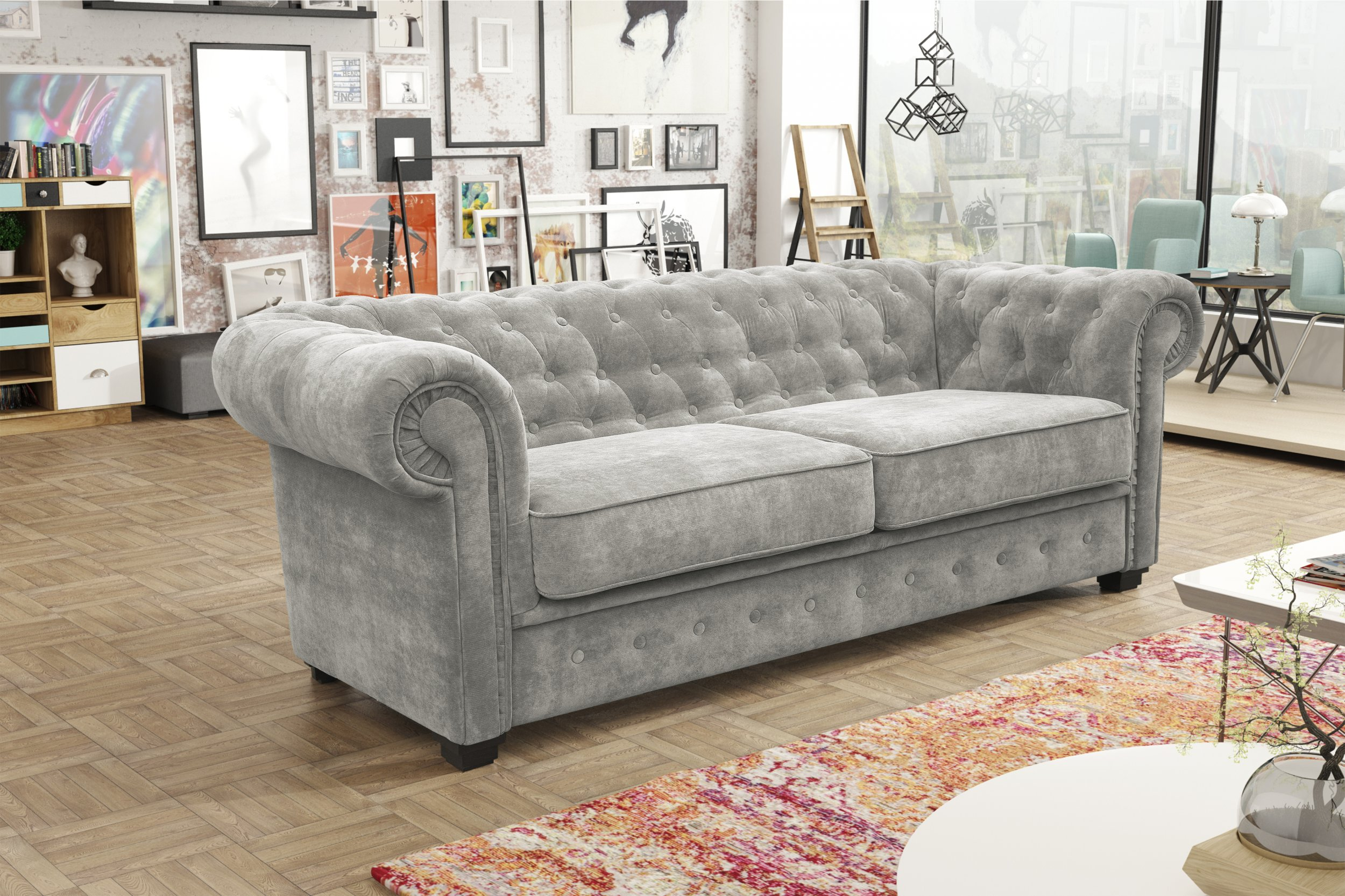 Indiana 3 2 sofa set grey fabric the clearance zone for Living room furniture northern ireland