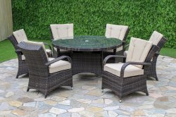 Maze Rattan Texas 6 Seater Round Dining Set