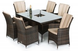 Maze Rattan LA 6 Seat Rectangle Dining Set with Ice Bucket
