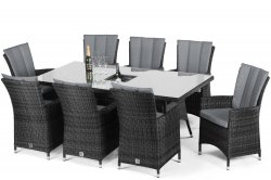 Maze Rattan LA 8 Seat Rectangle Dining Set with Ice Bucket