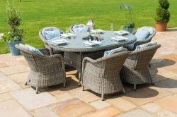 Maze Rattan - Oxford 6 Seat Oval Dining Set With Round Chairs