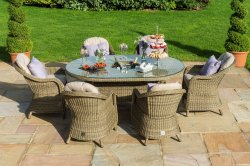 Maze Rattan - Winchester 6 Seat Oval Dining Set - With Rounded Chairs