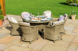 Maze Rattan - Winchester 6 Seat Round - With Round Chairs