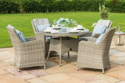 Maze Rattan - Oxford 4 Seat Round Dining Set - With Venice Chairs