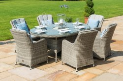 Maze Rattan - Oxford 6 Seat Oval Dining Set With Venice Chairs