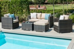 Maze Rattan Georgia 2 Seat Sofa Set - With Ice Bucket
