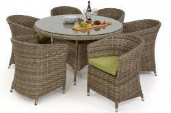 Milan 6 Seat Round Dining Set with Rounded Chairs