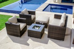 Maze Rattan 5 Piece Sofa Set - With Ice Bucket