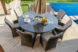 Maze Rattan LA 8 Seat Round Dining Set with Ice Bucket