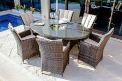 Maze Rattan LA 6 Seat Oval Dining Set with Ice Bucket