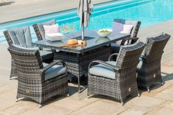 Maze Rattan Texas 6 Seat Rectangular Ice Bucket Dining Set