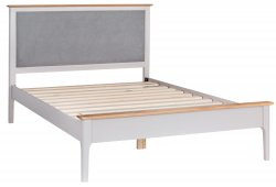Nordby Painted Bedroom Double Bed Frame with Padded Headboard