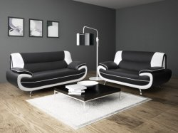 Paris 3+2 Seat Sofa - Black/White PU Leather