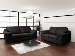 Alabama 3+2 Sofa Set - Black PU Leather