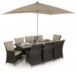 Maze Rattan LA 8 Seat Rectangle Dining Set