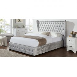 Diamond Winged Double Bed Frame - Silver