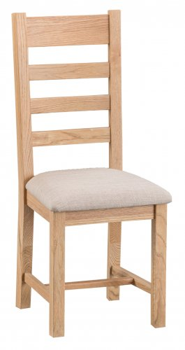 Light Warwick Dining & Occasional Ladder Back Chair with Fabric Seat