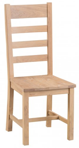 Light Oakmont Dining & Occasional Ladder Back Chair with Wooden Seat