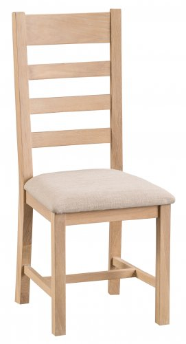 Light Oakmont Dining & Occasional Ladder Back Chair with Fabric Seat