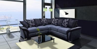 Santiago Corner Sofa - Black/Grey