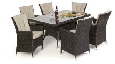 Maze Rattan LA 6 Seat Rectangular Dining Set