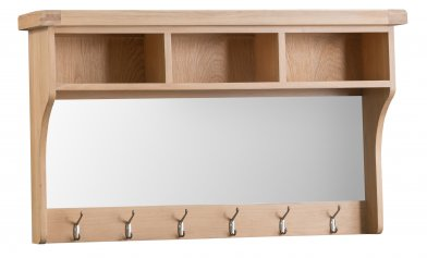 Light Oakmont Dining & Occasional Hall Shelf Unit with Mirror